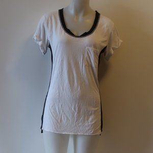 RAG & BONE/KNIT BLACK WHITE T-SHIRT TOP S *